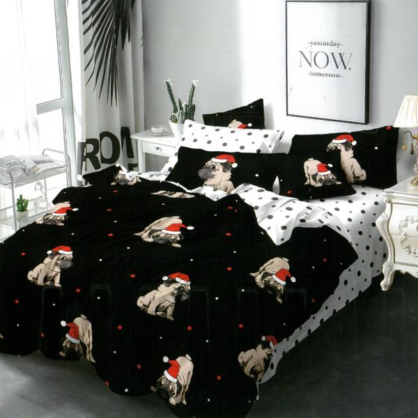 Lenjerie pentru pat dublu cu Mos Craciun din FINET cu 6 piese-YX10 0
