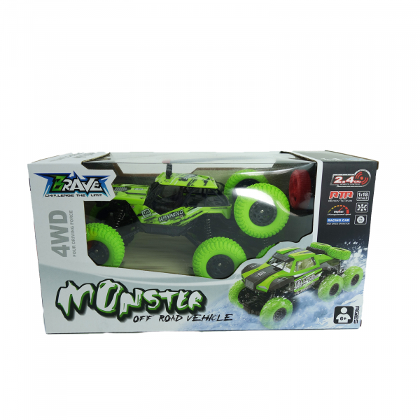 Monster Off-Road, 4x4, 8 roti de cauciuc, 27 cm, verde 3