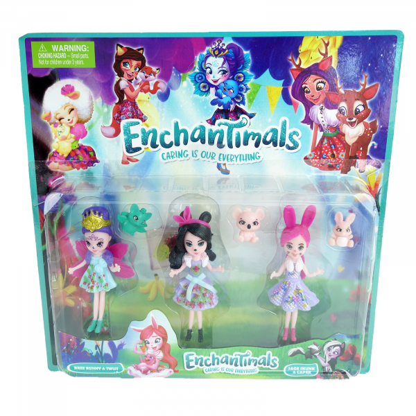 Set 3 figurine Enchatimals, 9 cm 1