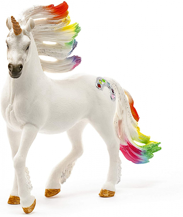 Armăsar unicorn curcubeu cu strasuri - Figurina Schleich 70523 2