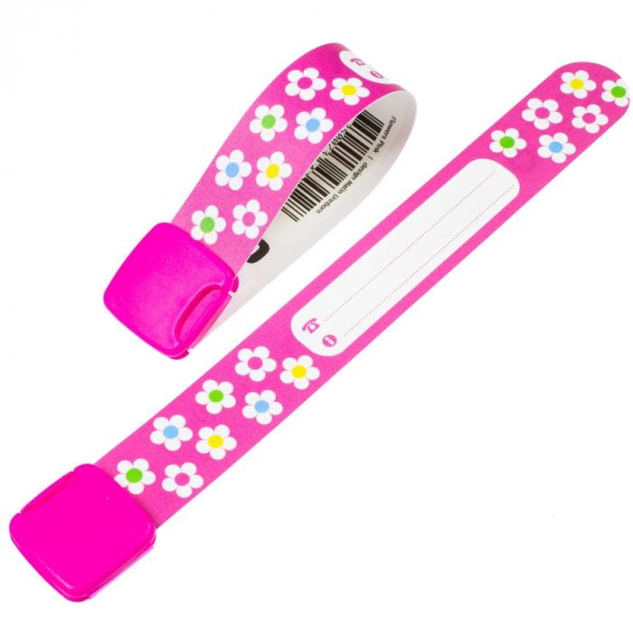 Brățară refolosibilă de identificare pentru copii Infoband 430128 - Cu flori | Brățări securitate | Banderolă informativă 0