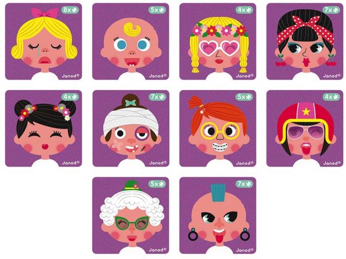 Carte magnetică - Fețe haioase de fetiță - Janod J02717 3