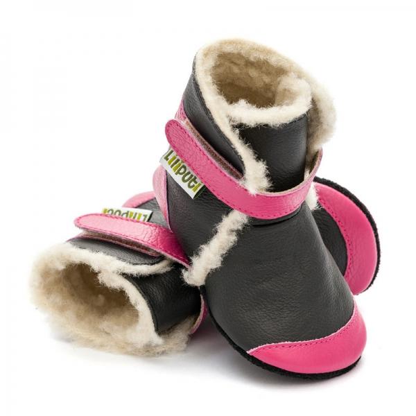 Cizme cu talpă moale Liliputi® - Eskimo Black 0
