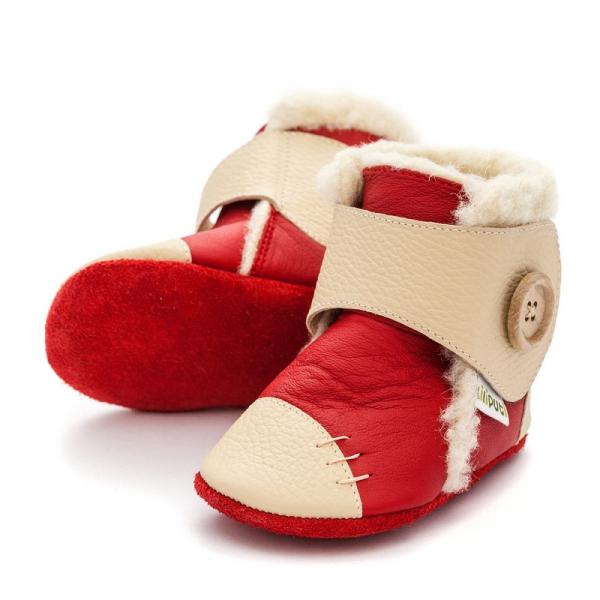 Cizme cu talpă moale Liliputi® - Snowflake Red 0
