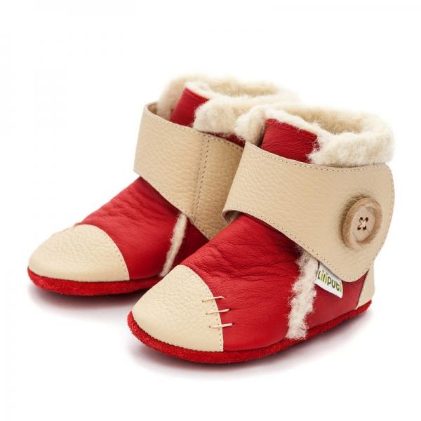 Cizme cu talpă moale Liliputi® - Snowflake Red 1
