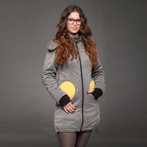 Geacă pentru mămici 4in1 Liliputi® - Grey-Yellow 1