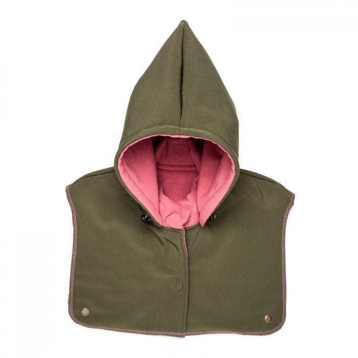Glugă și fular de încălzire a gâtului pentru bebeluși Liliputi - Olive-Pink 0