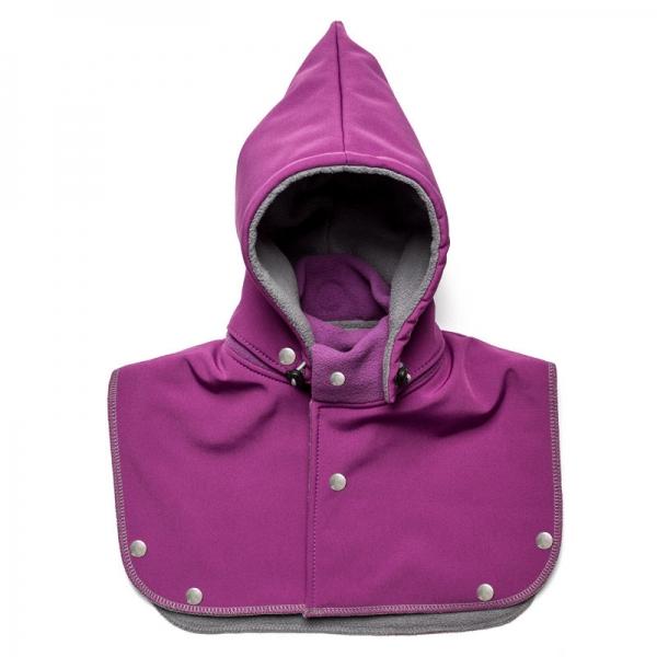 Glugă și fular de încălzire a gâtului pentru bebeluși Liliputi - Violet-grey 0