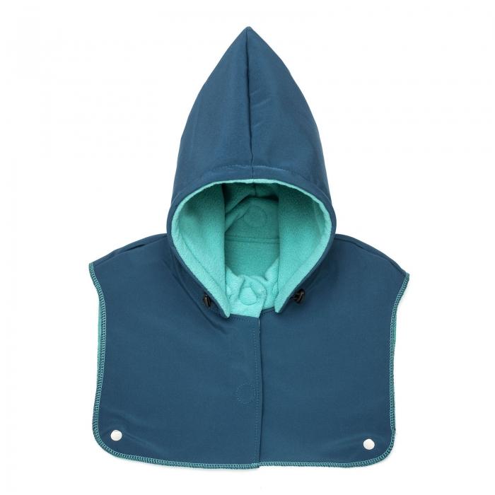 Glugă și fular de încălzire a gâtului pentru bebeluși Liliputi - Azure Turquoise 0