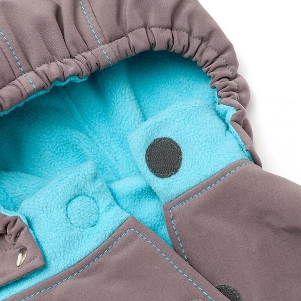 Glugă și fular de încălzire a gâtului pentru bebeluși Liliputi® - Grey-turquoise 1