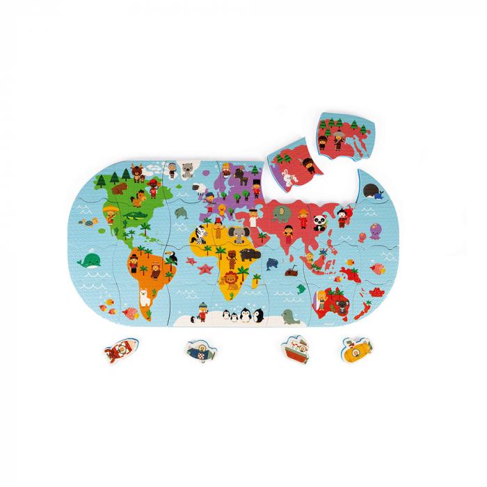 Jucării de baie - Puzzle harta lumii - 28 de piese și 4 vehicule din spumă, Janod J04719 6