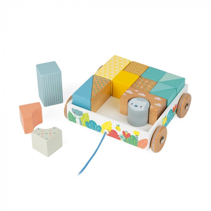 Jucărie de tras și cuburi (lemn) - Janod J05152 0