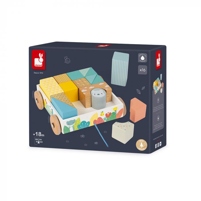 Jucărie de tras și cuburi (lemn) - Janod J05152 1