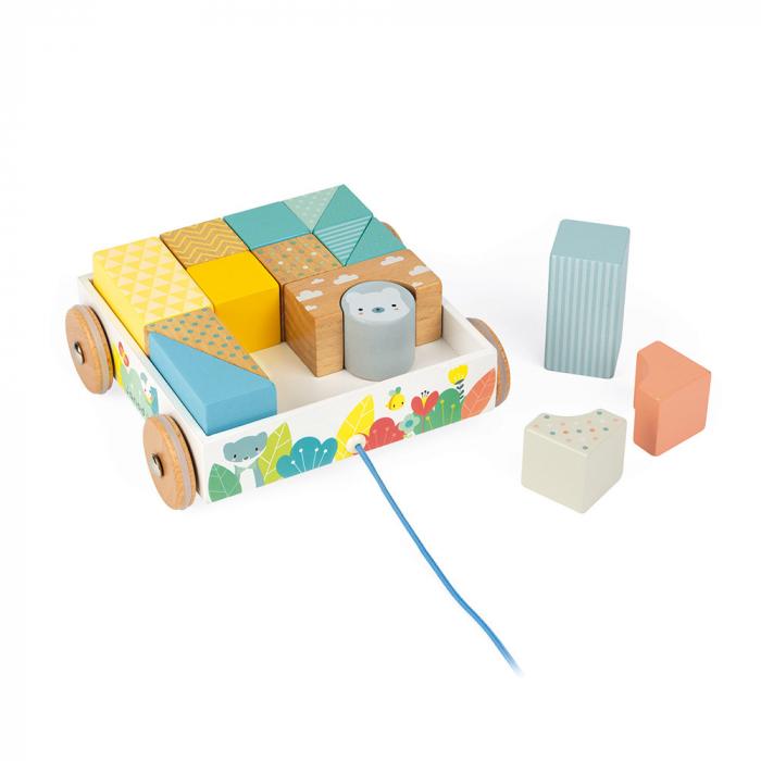 Jucărie de tras și cuburi (lemn) - Janod J05152 3