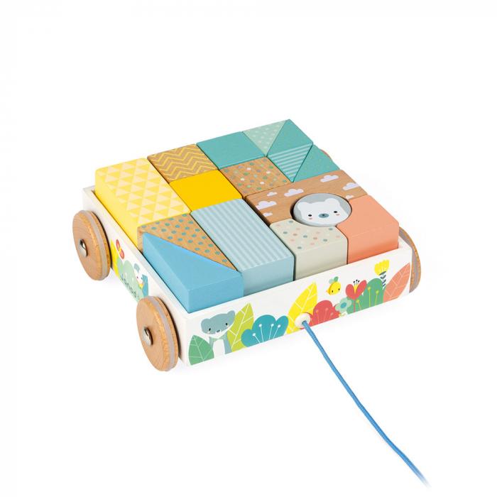 Jucărie de tras și cuburi (lemn) - Janod J05152 5