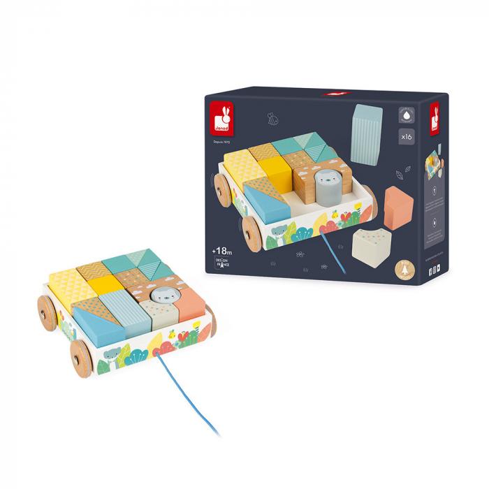 Jucărie de tras și cuburi (lemn) - Janod J05152 6