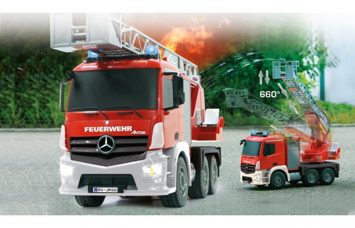 Masină de pompieri cu telecomandă Mercedes Antos cu scara și pompă de apă, Jamara 404960 [6]