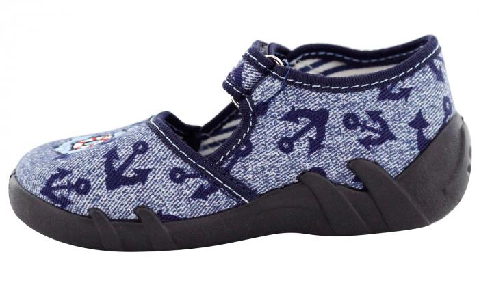 Pantofi baieti cu ancora brodata (cu scai), din material textil [3]