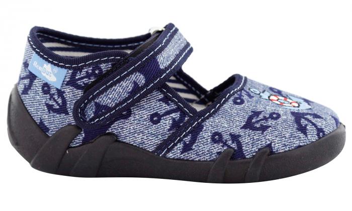 Pantofi baieti cu ancora brodata (cu scai), din material textil 2