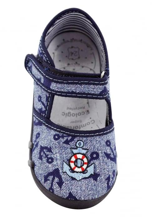 Pantofi baieti cu ancora brodata (cu scai), din material textil [4]