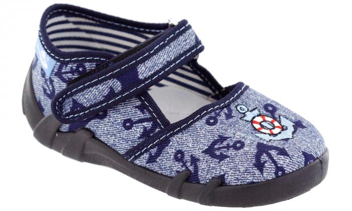 Pantofi baieti cu ancora brodata (cu scai), din material textil 1