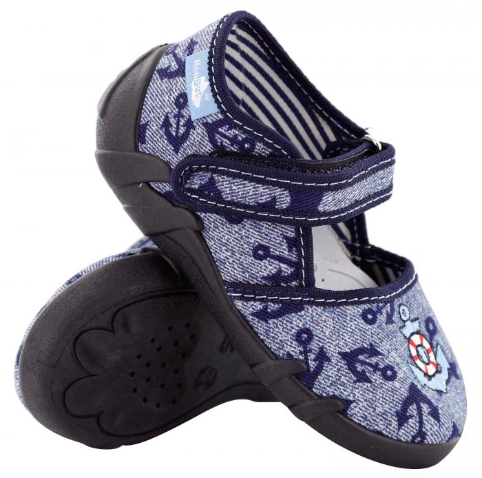 Pantofi baieti cu ancora brodata (cu scai), din material textil [0]