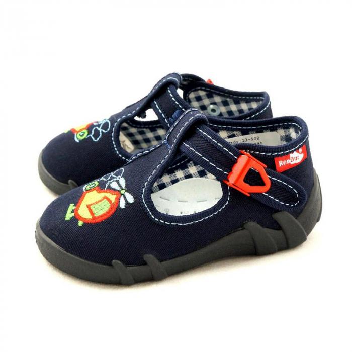 Pantofi baieti cu elicopter brodat (cu catarama), din material textil 1