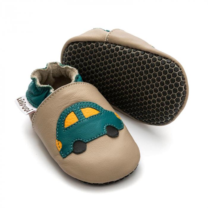 Pantofi cu talpă moale Liliputi cu crampoane antialunecare - Green Car 0