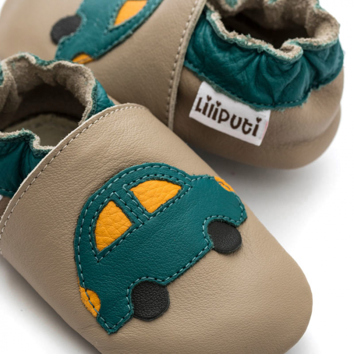 Pantofi cu talpă moale Liliputi cu crampoane antialunecare - Green Car 2