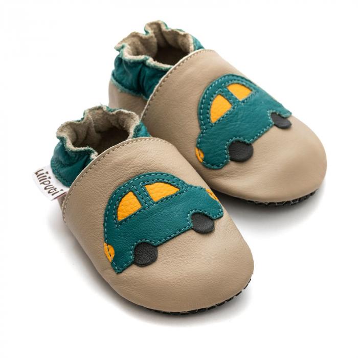 Pantofi cu talpă moale Liliputi cu crampoane antialunecare - Green Car 1