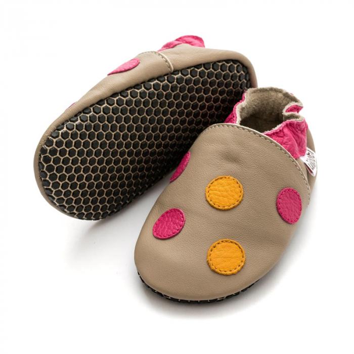 Pantofi cu talpă moale Liliputi cu crampoane antialunecare - Polka Dots Pink 0