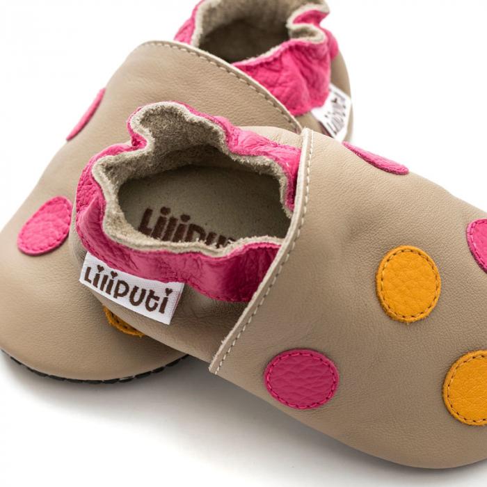 Pantofi cu talpă moale Liliputi cu crampoane antialunecare - Polka Dots Pink 2