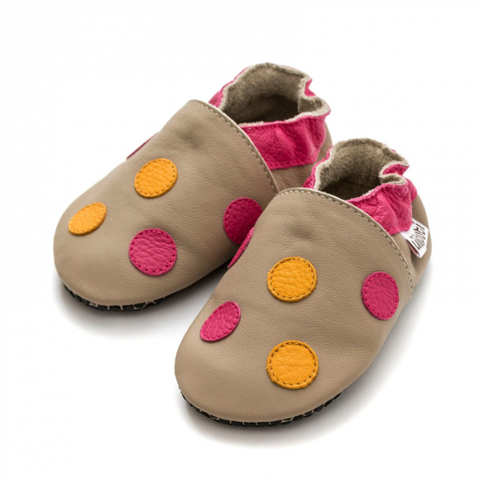 Pantofi cu talpă moale Liliputi cu crampoane antialunecare - Polka Dots Pink 1