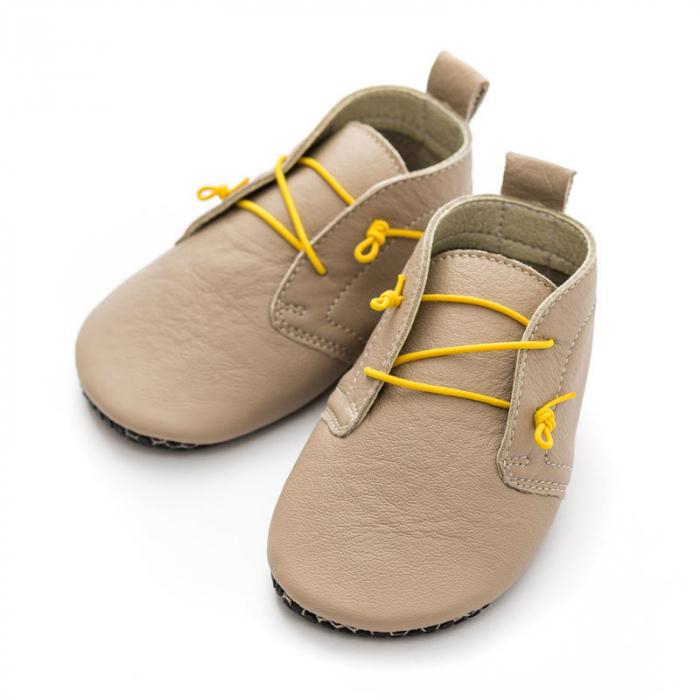 Pantofi cu talpă moale Liliputi cu crampoane antialunecare - Urban Latte 4