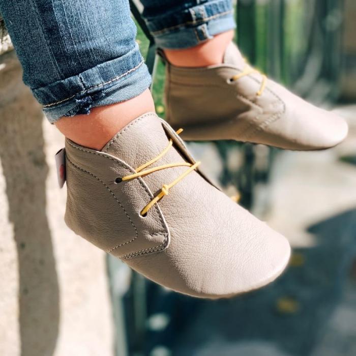 Pantofi cu talpă moale Liliputi cu crampoane antialunecare - Urban Latte 2