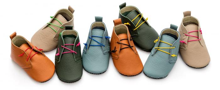 Pantofi cu talpă moale Liliputi cu crampoane antialunecare - Urban Latte 3