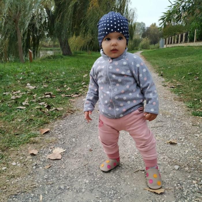 Pantofi cu talpă moale Liliputi cu crampoane antialunecare - Polka Dots Pink 4