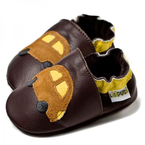 Pantofi cu talpă moale Liliputi® - Brown cars bi-turbo 0
