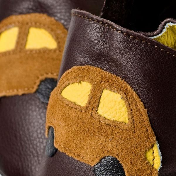 Pantofi cu talpă moale Liliputi® - Brown cars bi-turbo 1
