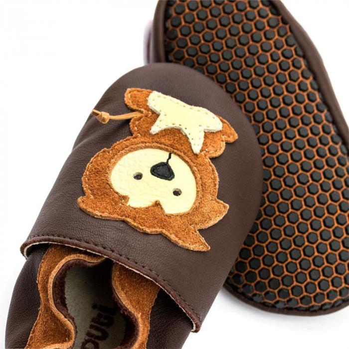 Pantofi cu talpă moale Liliputi cu crampoane antialunecare - Protector Lions [2]