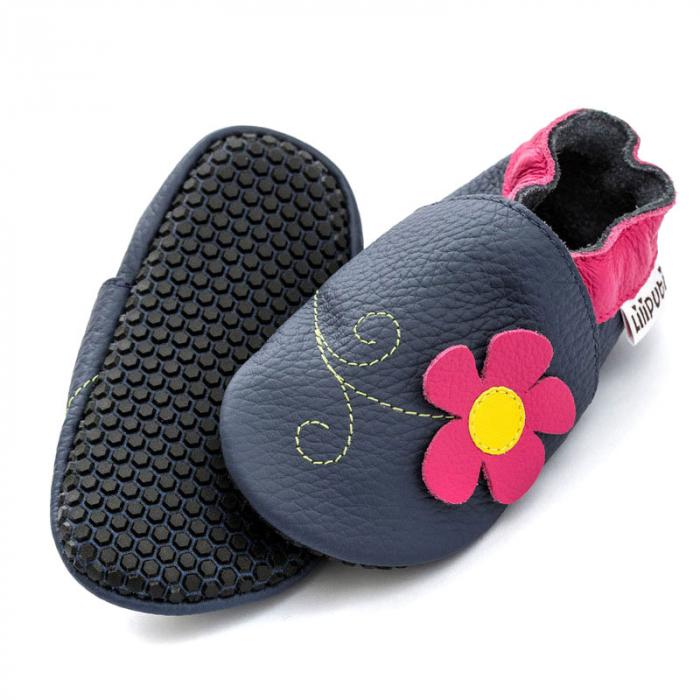 Pantofi cu talpă moale Liliputi cu crampoane antialunecare - Spring Flower 0