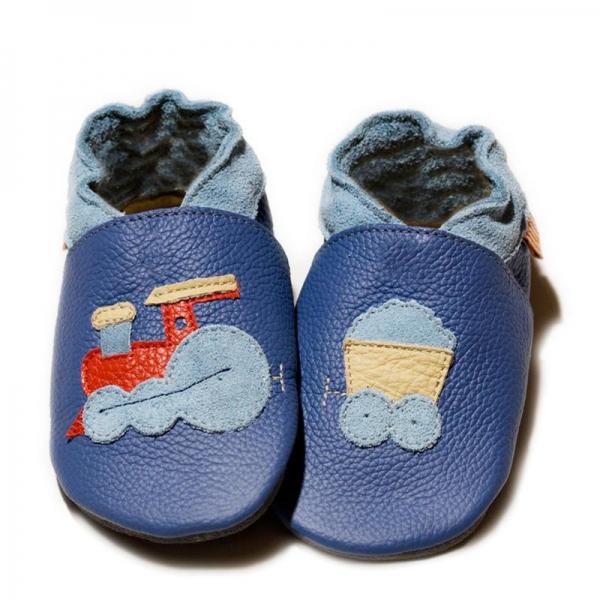 Pantofi cu talpă moale Liliputi® - Express Train Blue
