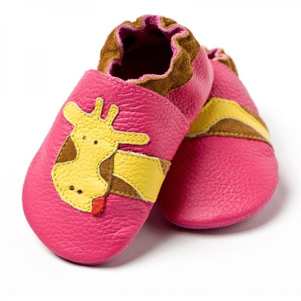 Pantofi cu talpă moale Liliputi® - Fuchsia Giraffe 0