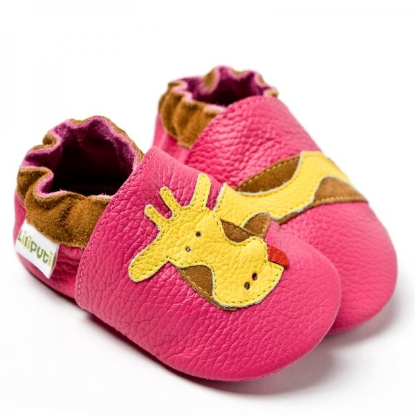 Pantofi cu talpă moale Liliputi® - Fuchsia Giraffe 2