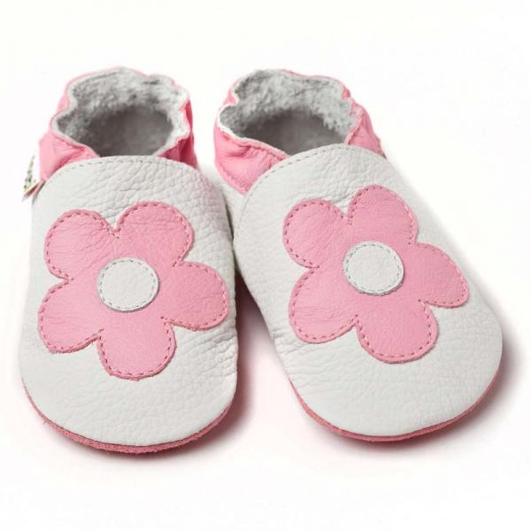 Pantofi cu talpă moale Liliputi® - Pink Flowers 0