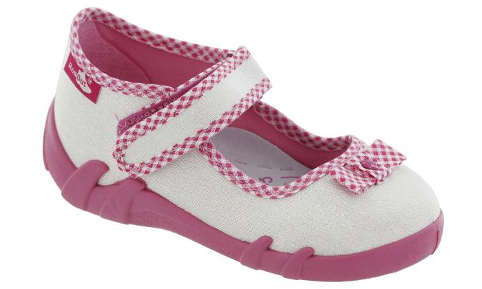 Pantofi fete cu aspect stralucitor, cu fundita (cu scai), din material textil 1