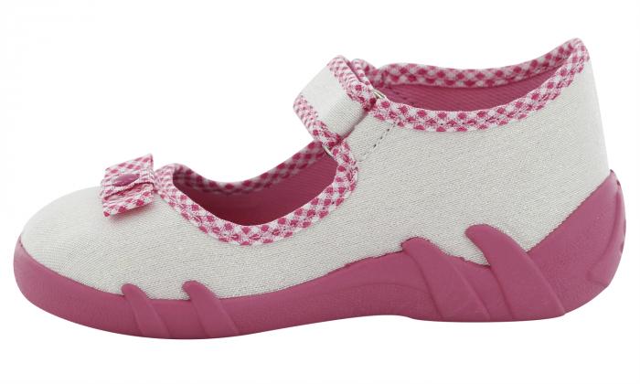 Pantofi fete cu aspect stralucitor, cu fundita (cu scai), din material textil 3