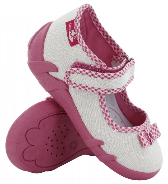 Pantofi fete cu aspect stralucitor, cu fundita (cu scai), din material textil 0