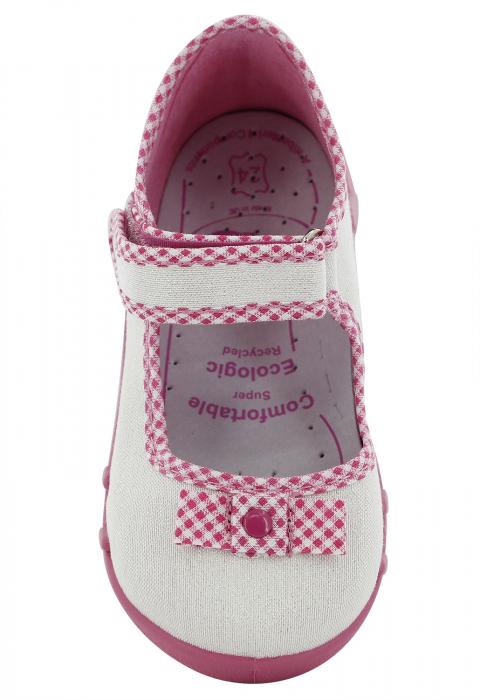 Pantofi fete cu aspect stralucitor, cu fundita (cu scai), din material textil 4