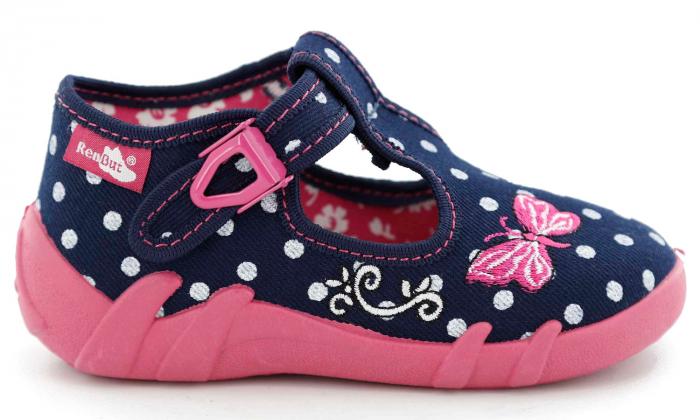 Pantofi fete cu bulinuțe albe și fluturaș brodat (cu cataramă), din material textil 2